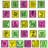 Colorful hand drawn alphabet. Writing doodles style. Each letter framed. Isolated on white background. For children and holiday projects Royalty Free Stock Photography