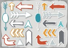 Colorful hand drawn arrow set isolated on gray Stock Photography
