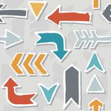 Colorful Hand Drawn Arrow Set Pattern On Gray Stock Photography