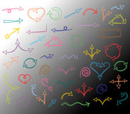 Colorful Hand Drawn Arrows isolated on Monochrome Background.Sketch Style. Prefect for Design Stock Image
