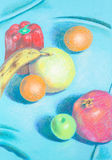 Hand drawn illustration of different, colorful fruis. Colorful hand drawn artwork of many different fruitsshapes placed in an artistic composition, on turquoise Stock Photography