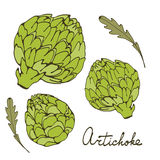 Colorful hand drawn card with artichoke Royalty Free Stock Images