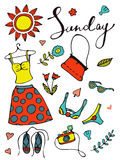 Colorful hand drawn card with summer clothes and objects that can be used on Sunday Stock Photography