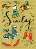 Colorful hand drawn card with winter clothes and objects that can be used on Sunday Stock Photo