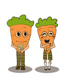 Colorful hand drawn carrots characters Stock Images