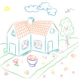 Colorful Hand Drawn Country House in Doodle Style. Children Drawings of House with Flowerbed and Birch Stock Images