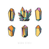 Colorful hand drawn crystals. Set of colorful crystals. Vector decorative crystals and minerals isolated on white Stock Photos