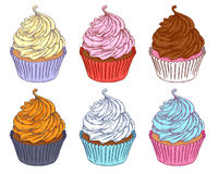 Colorful hand drawn cupcakes set. Royalty Free Stock Photography
