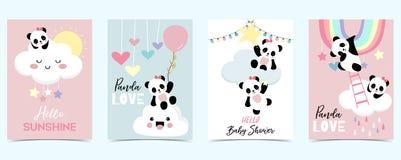 Colorful Hand Drawn Cute Card With Rainbow,cloud,panda And Rain.Hello Sunshine Stock Image