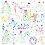 Colorful Hand Drawn Cute Christmas Sketch Set. Children Drawings of Snowman,  Fir Trees,  Candle, Toys, Angel, Stars. And Snowflakes. Perfect for festive design Royalty Free Stock Image
