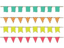 Colorful Hand drawn doodle bunting banners for decoration. Cartoon banner set, bunting flags, border sketch. Decorative elements. Stock Photography