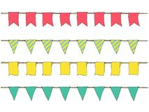 Colorful Hand drawn doodle bunting banners for decoration. Cartoon banner set, bunting flags, border sketch. Decorative elements. Royalty Free Stock Images
