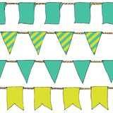 Colorful Hand drawn doodle bunting banners horizontal seamless pattern. Cartoon banner, bunting flags, border sketch. Bright Decor Stock Images