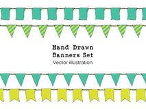 Colorful Hand drawn doodle bunting banners set for decoration. Doodle banner set, bunting flags, border sketch. Bright horizontal. Decorative elements. Vector Stock Image