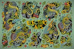 Colorful  doodle cartoon set of Electric cars objects Royalty Free Stock Photography