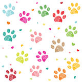 Colorful hand drawn doodle paw print with hearts vector vector illustration