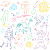 Colorful Hand Drawn Doodle Spaceman, Spaceships, Rockets, Falling Stars, Planets and Comets. Sketch Style Royalty Free Stock Photo