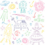 Colorful Hand Drawn Doodle Spaceships, Rockets, Falling Stars, Planets and Comets . Sketch Style. Stock Photo