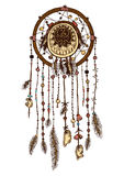 Colorful hand drawn dreamcatcher with feathers stock illustration