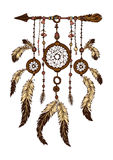 Colorful hand drawn dreamcatcher with feathers royalty free illustration