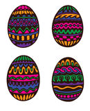Colorful Hand Drawn Easter Eggs. Four ornate easter eggs on white background Royalty Free Stock Photography