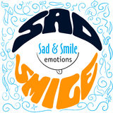Colorful Hand drawn emotions lettering sad and smile Royalty Free Stock Photos
