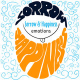 Colorful Hand drawn emotions lettering sorrow and happiness Stock Images
