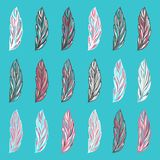 Colorful hand-drawn fantastic feathers Royalty Free Stock Photography