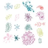 Colorful hand drawn fantasy elements set isolated on white background. Collection of different original shapes: arrows, minerals, royalty free illustration