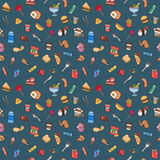 Colorful hand drawn fast food seamless pattern Stock Photos
