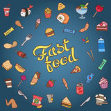 Colorful hand drawn fast food vector illustration Stock Photos