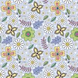 Colorful hand drawn floral background royalty free illustration