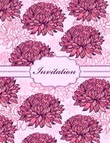 Colorful hand drawn floral invitation card Stock Image