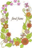 Colorful hand drawn flowers frame on white Royalty Free Stock Photo