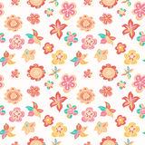 Colorful hand drawn flowers. Seamless pattern. Royalty Free Stock Images