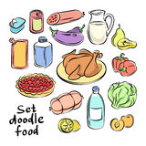 Colorful hand drawn food objects. Freehand doodles food Royalty Free Stock Photo