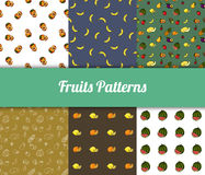 Colorful hand drawn  fruits seamless patterns set Royalty Free Stock Photo