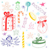 Colorful Hand Drawn Funny Doodle Christmas Set with Candies, Gifts, Candle, Stars and Snowflakes. Children Cute Drawings Royalty Free Stock Photos