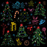 Colorful Hand Drawn Funny Doodle Christmas Symbols Set. Children Drawings of  Fir Trees, Gift, Candle, Toys, Angel Royalty Free Stock Photography