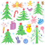 Colorful Hand Drawn Funny Doodle  Fir Trees and Christmas Symbols. Children Drawings of  Gifts, Toys, Angel, Stars and Snowflakes. Isolated on White. Perfect Stock Photos