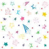 Colorful Hand Drawn Funny Stars. Children Drawings of Doodle Stars. Vector Illustration Stock Images