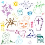 Colorful Hand Drawn Halloween Symbols. Doodle Drawings of Bat, Pumpkin, Ghost, Spider, Grave isolated on White. Vector Illustration royalty free illustration