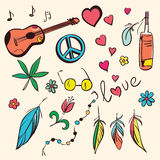 Colorful hand drawn hippie set. Vector illustration Royalty Free Stock Images