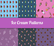 Colorful hand drawn  ice cream seamless patterns set Stock Photo