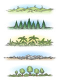 Colorful hand drawn landscapes with trees Royalty Free Stock Images