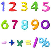 Colorful Hand Drawn Numbers Royalty Free Stock Photos