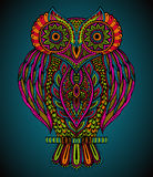 Colorful  hand drawn ornate  owl in zentangle style Stock Photography