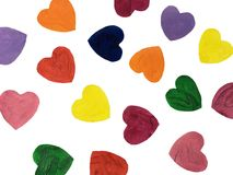 Colorful hand  drawn painted heart shapes draw. Royalty Free Stock Photos