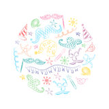 Colorful Hand Drawn Party Symbols Arranged in a Circle. Children Drawings of Masquerade Elements. Sketch Style. Royalty Free Stock Photography