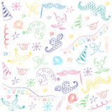 Colorful Hand Drawn Party Symbols. Children Drawings of Masquerade Elements. Sketch Style. Stock Photos